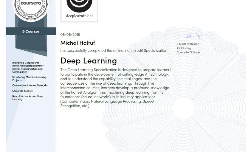 Dokončil jsem Deep Learning na Coursera